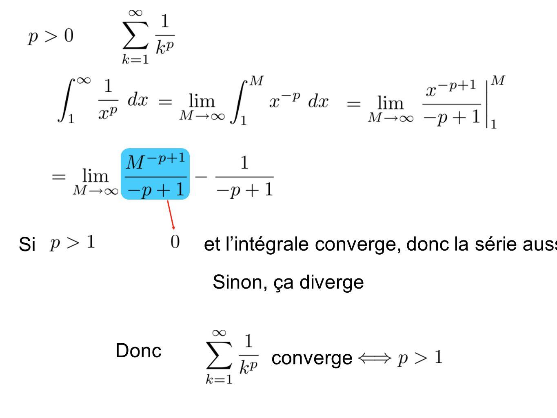 Si et lintégrale converge, donc la série aussi Sinon, ça diverge Donc converge