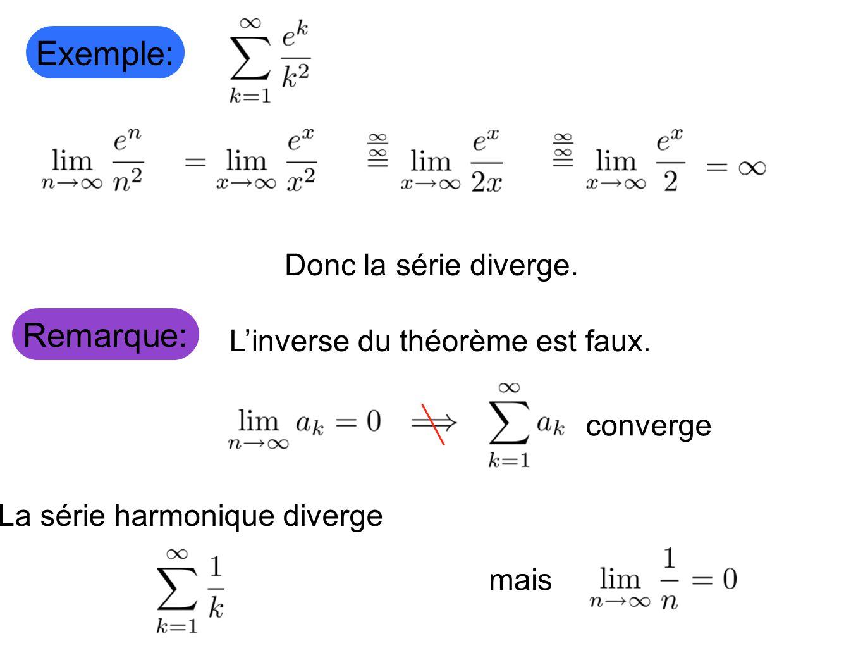 Remarque: Donc la série diverge. Exemple: Linverse du théorème est faux. converge La série harmonique diverge mais