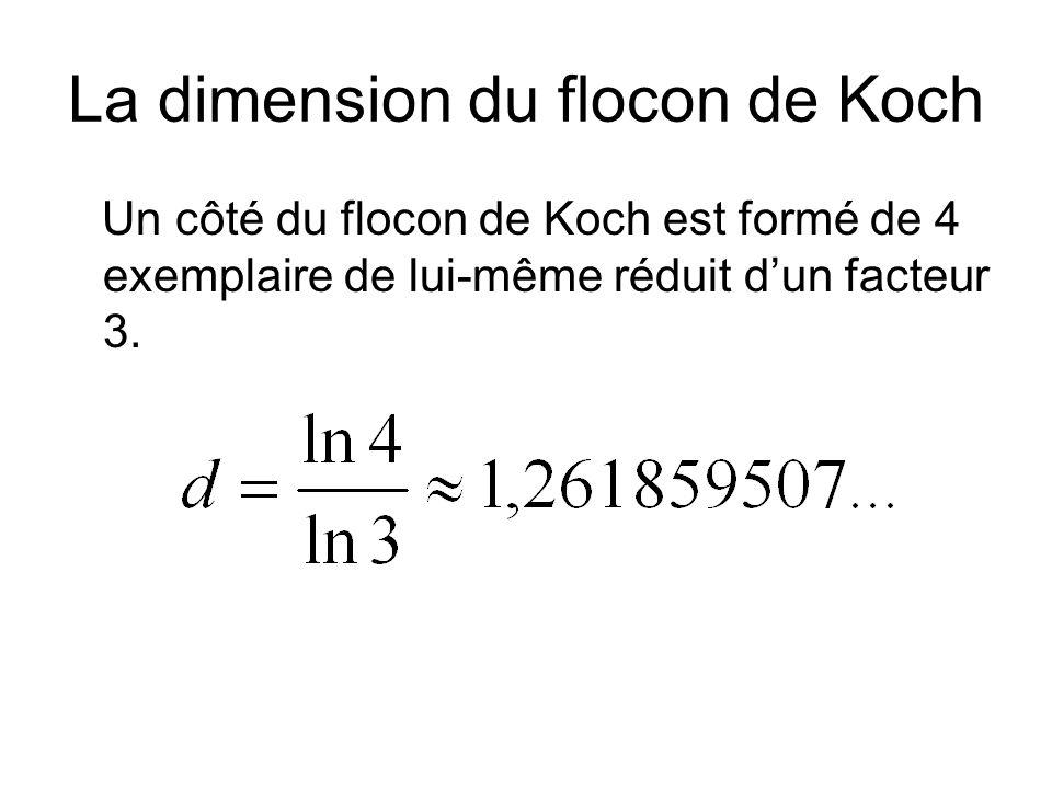 La dimension du flocon de Koch Un côté du flocon de Koch est formé de 4 exemplaire de lui-même réduit dun facteur 3.