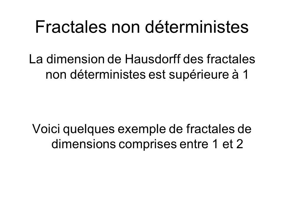 Fractales non déterministes La dimension de Hausdorff des fractales non déterministes est supérieure à 1 Voici quelques exemple de fractales de dimens