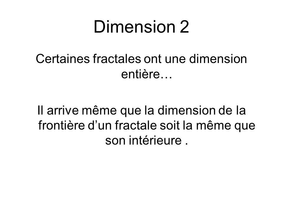 Dimension 2 Certaines fractales ont une dimension entière… Il arrive même que la dimension de la frontière dun fractale soit la même que son intérieur