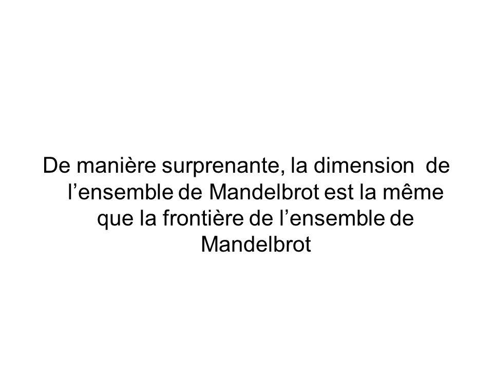 De manière surprenante, la dimension de lensemble de Mandelbrot est la même que la frontière de lensemble de Mandelbrot