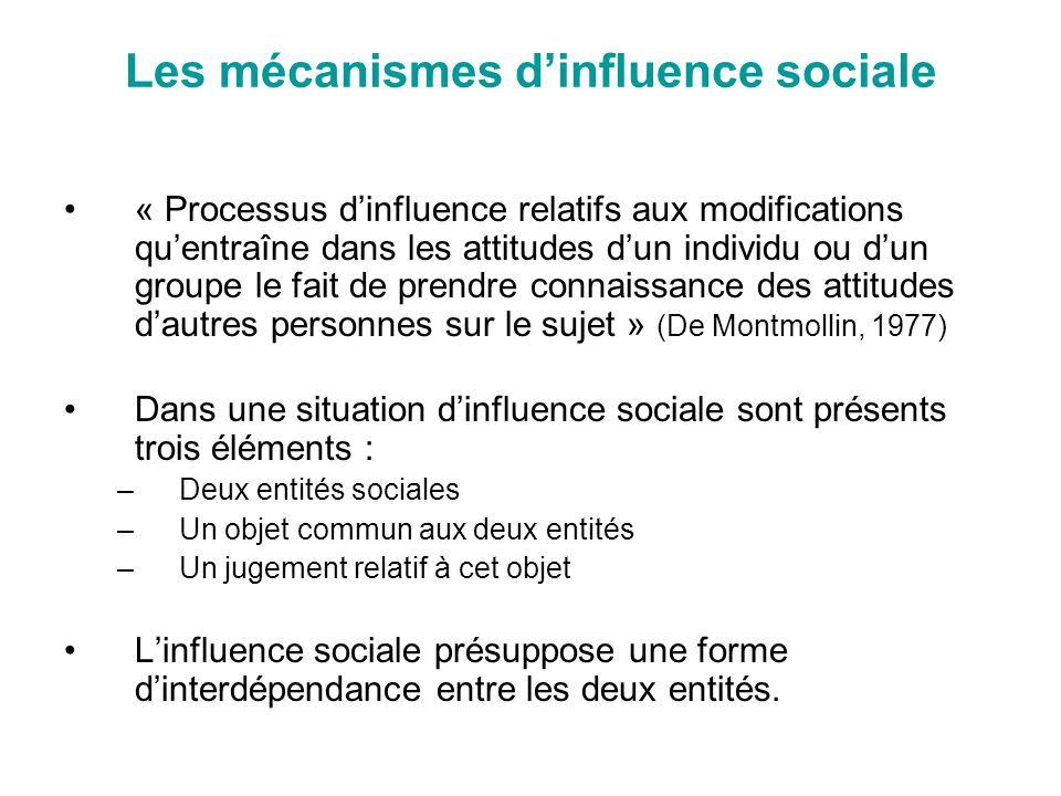 Les mécanismes dinfluence sociale « Processus dinfluence relatifs aux modifications quentraîne dans les attitudes dun individu ou dun groupe le fait d