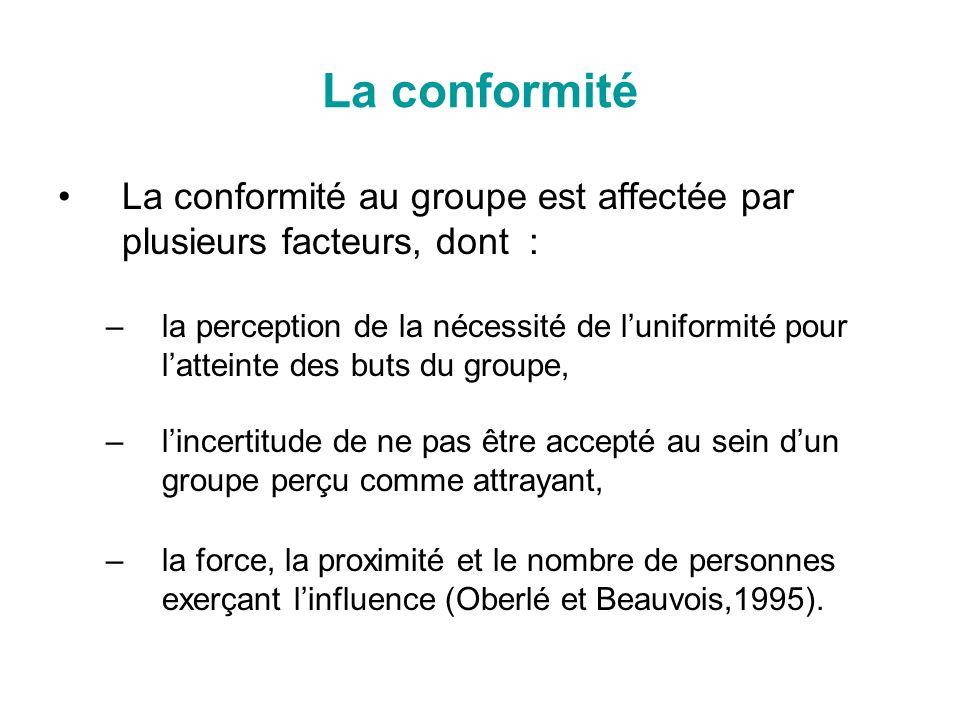 La conformité La conformité au groupe est affectée par plusieurs facteurs, dont : –la perception de la nécessité de luniformité pour latteinte des but