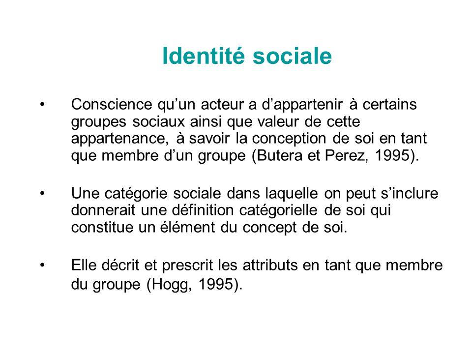 Identité sociale Conscience quun acteur a dappartenir à certains groupes sociaux ainsi que valeur de cette appartenance, à savoir la conception de soi