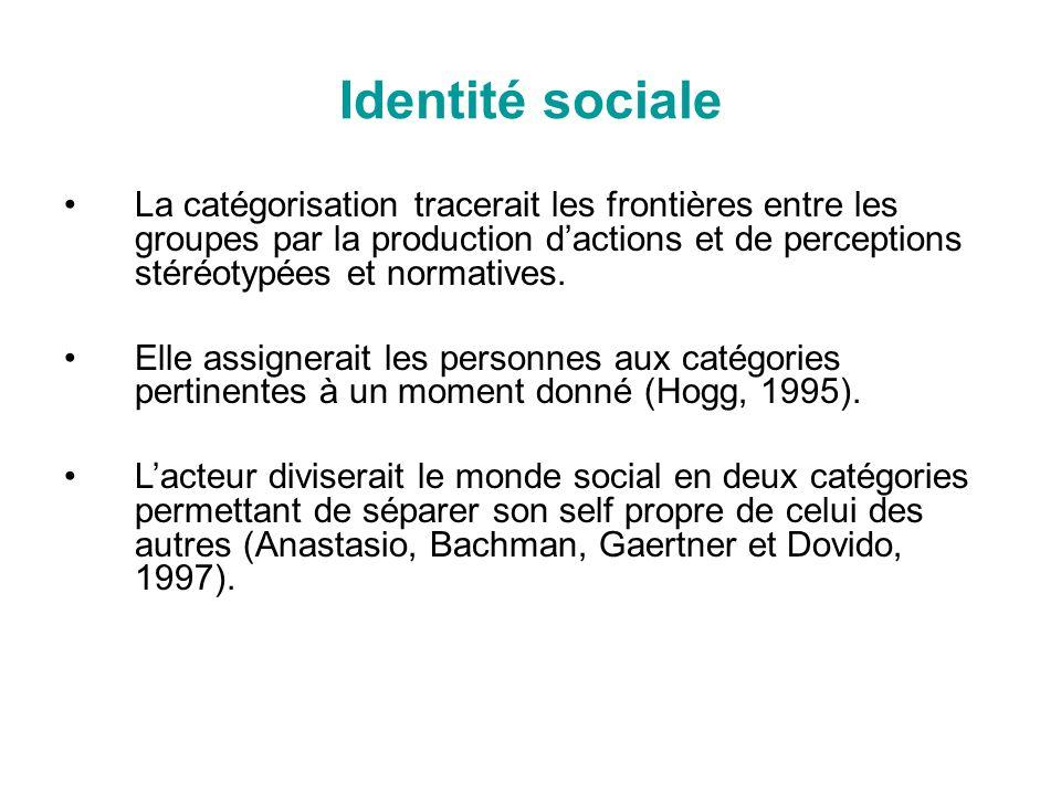 Identité sociale La catégorisation tracerait les frontières entre les groupes par la production dactions et de perceptions stéréotypées et normatives.