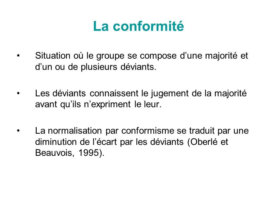 La conformité Situation où le groupe se compose dune majorité et dun ou de plusieurs déviants. Les déviants connaissent le jugement de la majorité ava