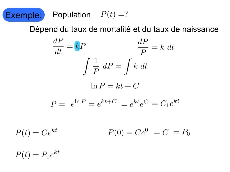 Dépend du taux de mortalité et du taux de naissance Exemple: Population