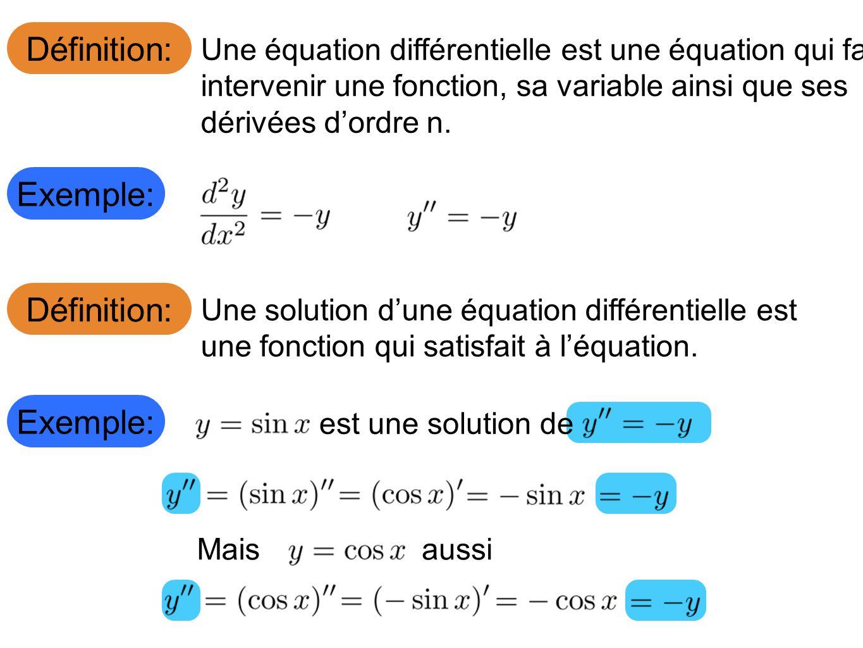 Définition: Une équation différentielle est une équation qui fait intervenir une fonction, sa variable ainsi que ses dérivées dordre n.