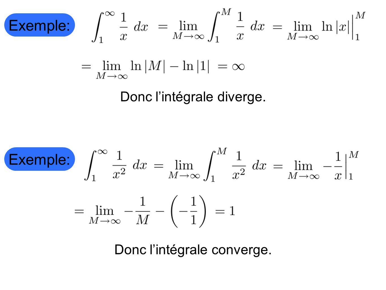 Exemple: Donc lintégrale diverge. Exemple: Donc lintégrale converge.