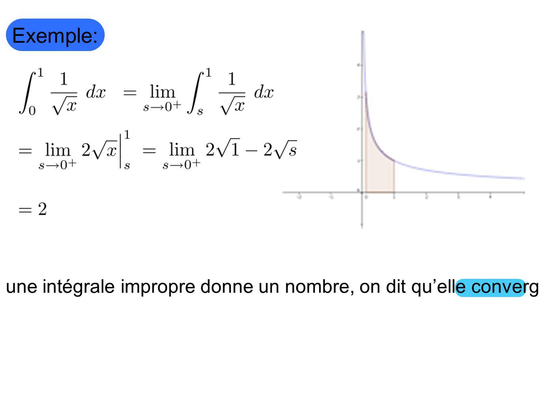 Exemple: Si une intégrale impropre donne un nombre, on dit quelle converge.