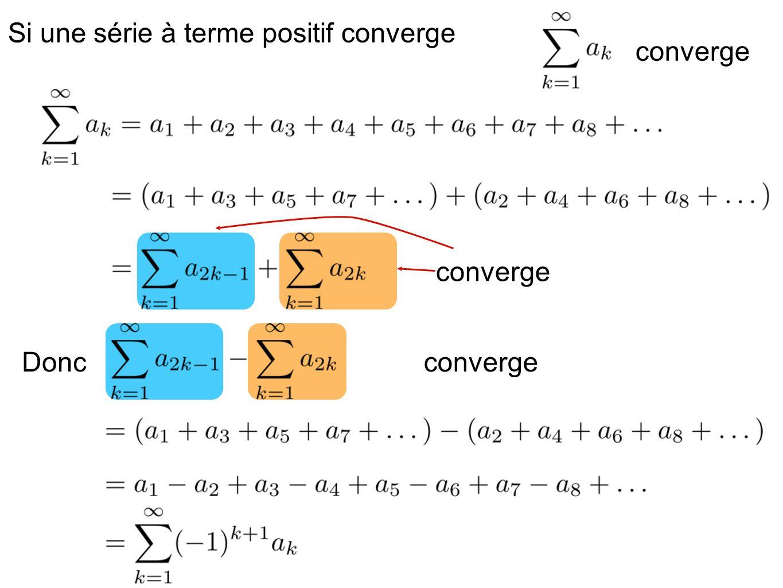 Si une série à terme positif converge convergeDonc converge