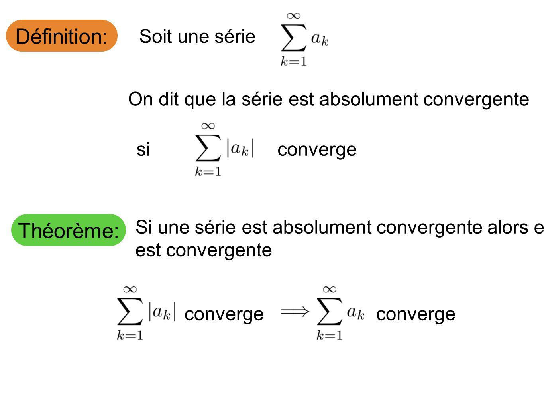 Définition: Soit une série On dit que la série est absolument convergente siconverge Théorème: Si une série est absolument convergente alors elle est convergente converge
