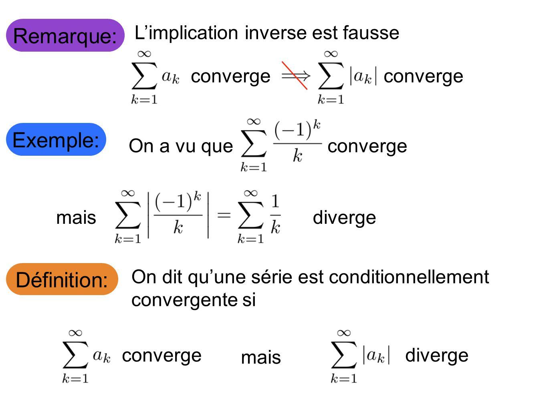 Remarque: Limplication inverse est fausse converge Exemple: Définition: On a vu queconvergemais diverge On dit quune série est conditionnellement convergente si converge mais diverge