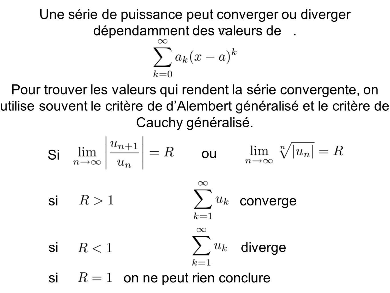 Une série de puissance peut converger ou diverger dépendamment des valeurs de. Pour trouver les valeurs qui rendent la série convergente, on utilise s