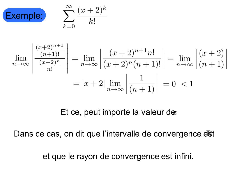 Exemple: Dans ce cas, on dit que lintervalle de convergence est Et ce, peut importe la valeur de et que le rayon de convergence est infini.