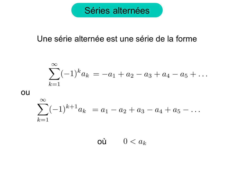 Séries alternées Une série alternée est une série de la forme où ou