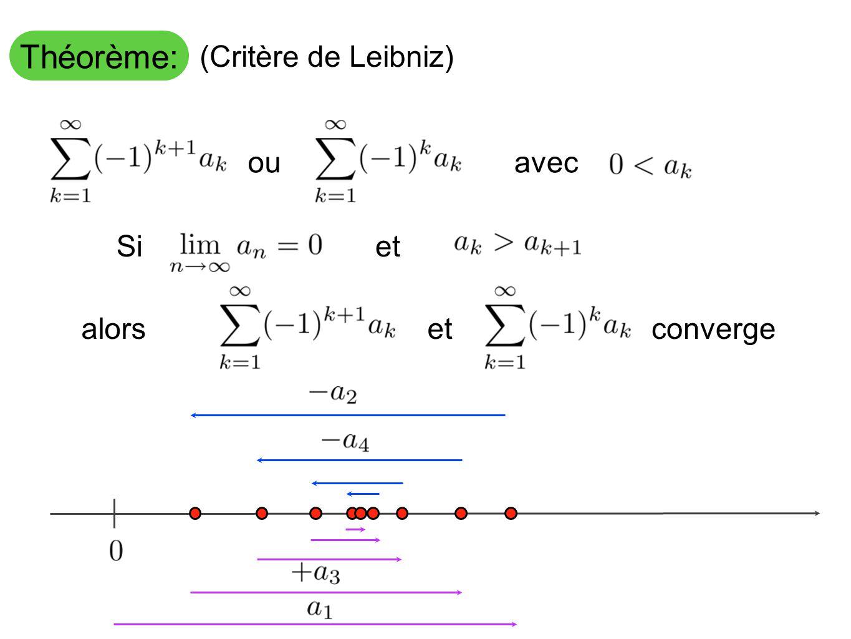 Théorème: (Critère de Leibniz) et alorsetconvergeou avec Si