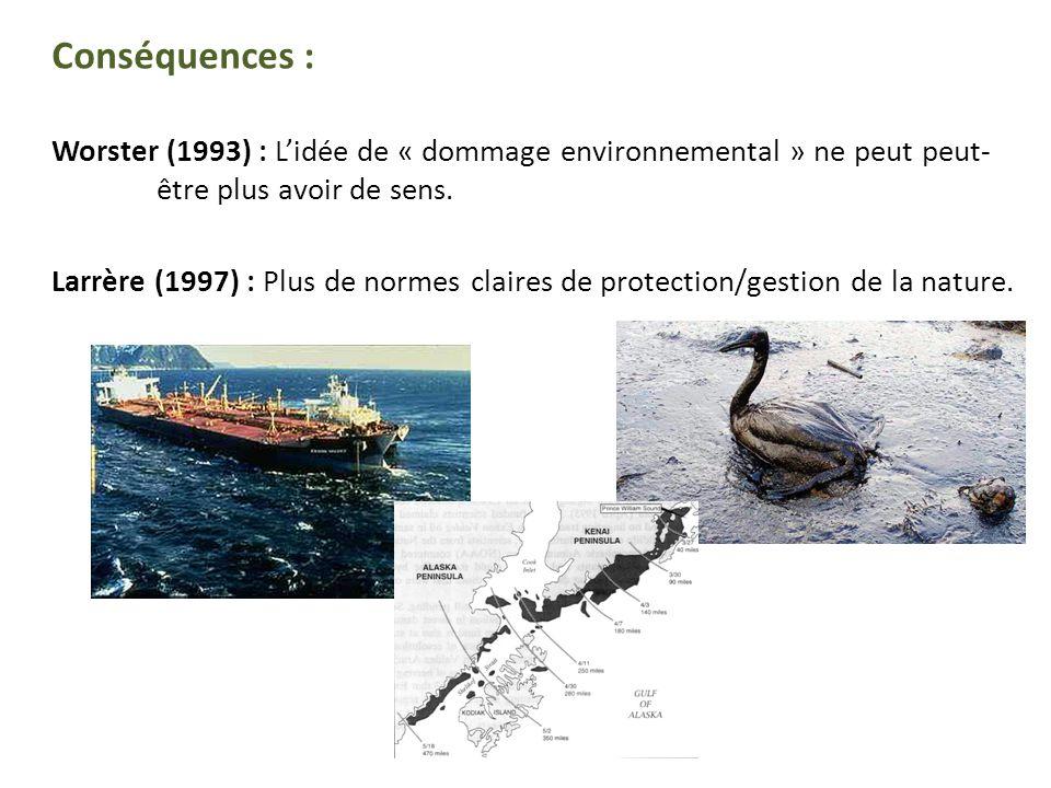 Conséquences : Worster (1993) : Lidée de « dommage environnemental » ne peut peut- être plus avoir de sens.