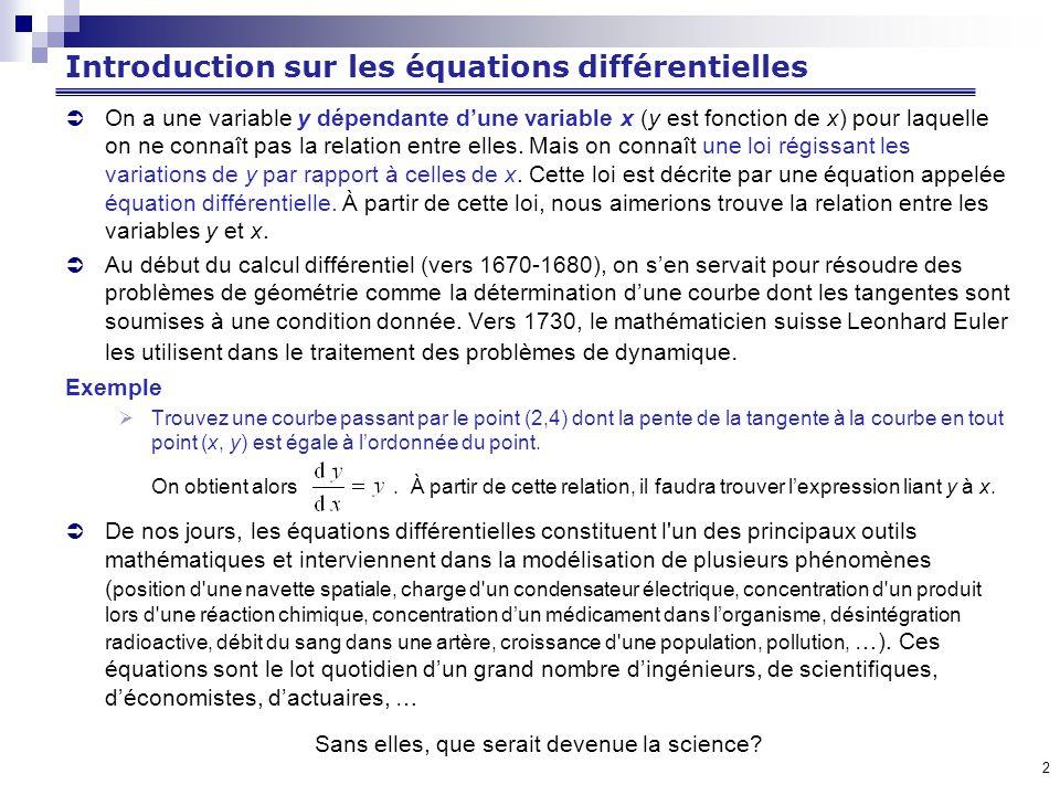 2 Introduction sur les équations différentielles On a une variable y dépendante dune variable x (y est fonction de x) pour laquelle on ne connaît pas la relation entre elles.