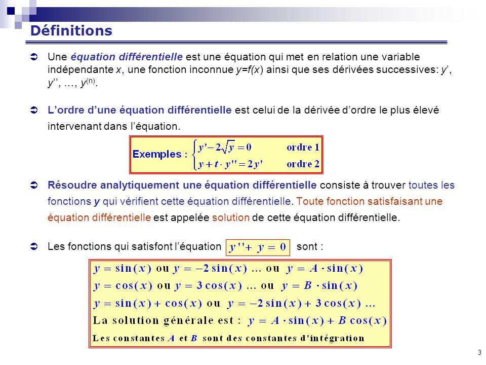 3 Définitions Une équation différentielle est une équation qui met en relation une variable indépendante x, une fonction inconnue y=f(x) ainsi que ses dérivées successives: y, y, …, y (n).