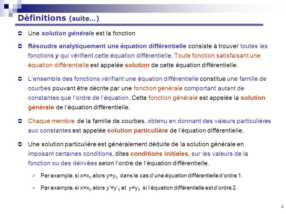 4 Définitions (suite…) Une solution générale est la fonction Résoudre analytiquement une équation différentielle consiste à trouver toutes les fonctions y qui vérifient cette équation différentielle.