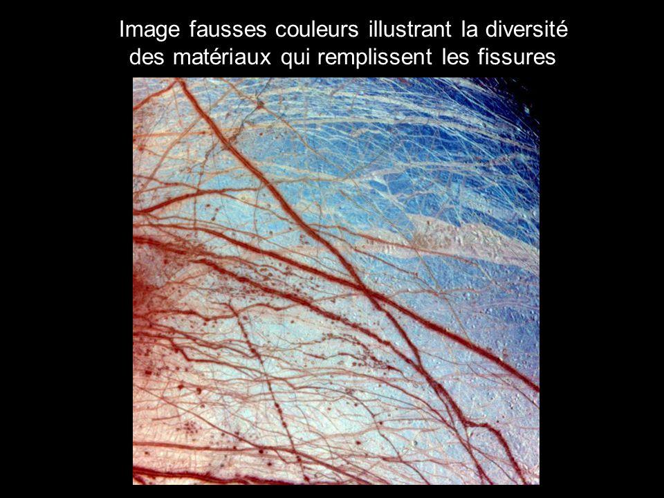 Image fausses couleurs illustrant la diversité des matériaux qui remplissent les fissures