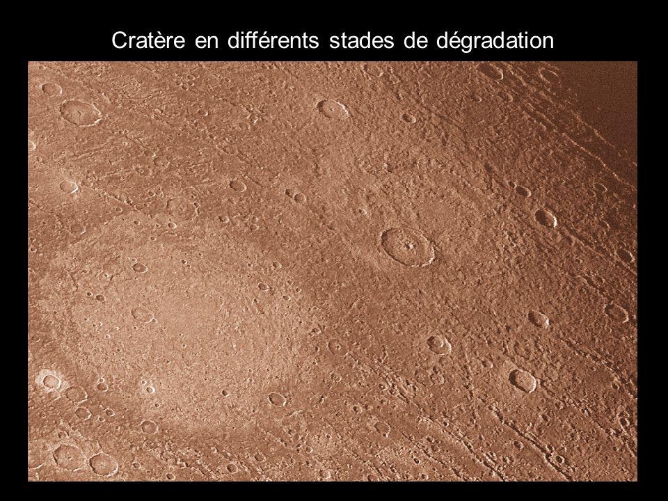 Cratère en différents stades de dégradation