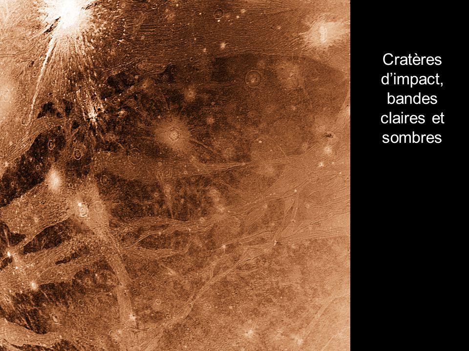 Cratères dimpact, bandes claires et sombres