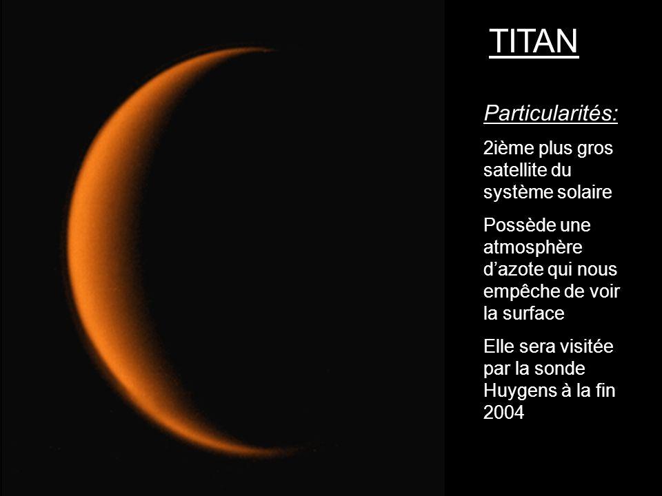 Particularités: 2ième plus gros satellite du système solaire Possède une atmosphère dazote qui nous empêche de voir la surface Elle sera visitée par l