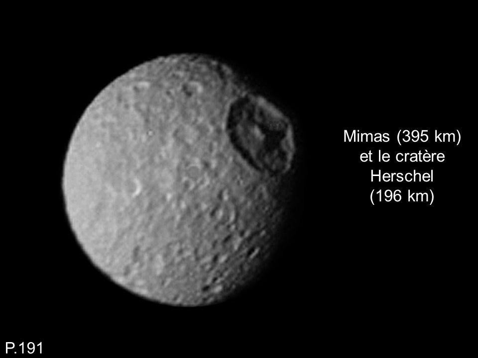 Mimas (395 km) et le cratère Herschel (196 km) P.191