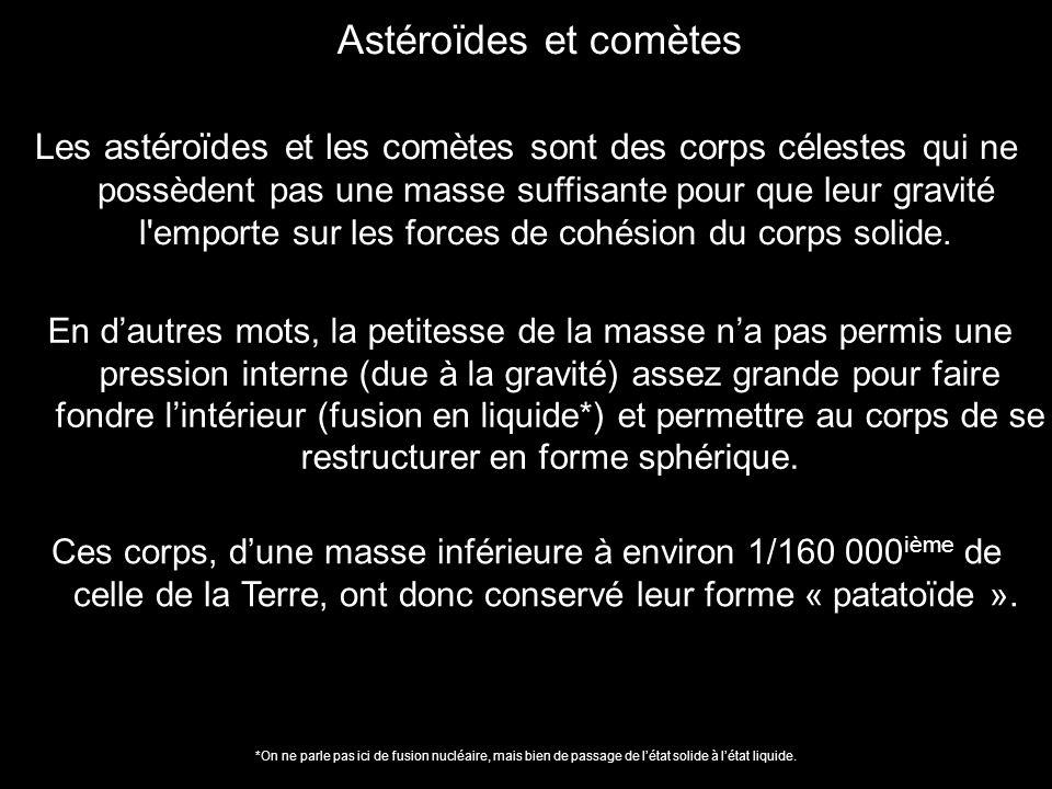 Les astéroïdes et les comètes sont des corps célestes qui ne possèdent pas une masse suffisante pour que leur gravité l'emporte sur les forces de cohé