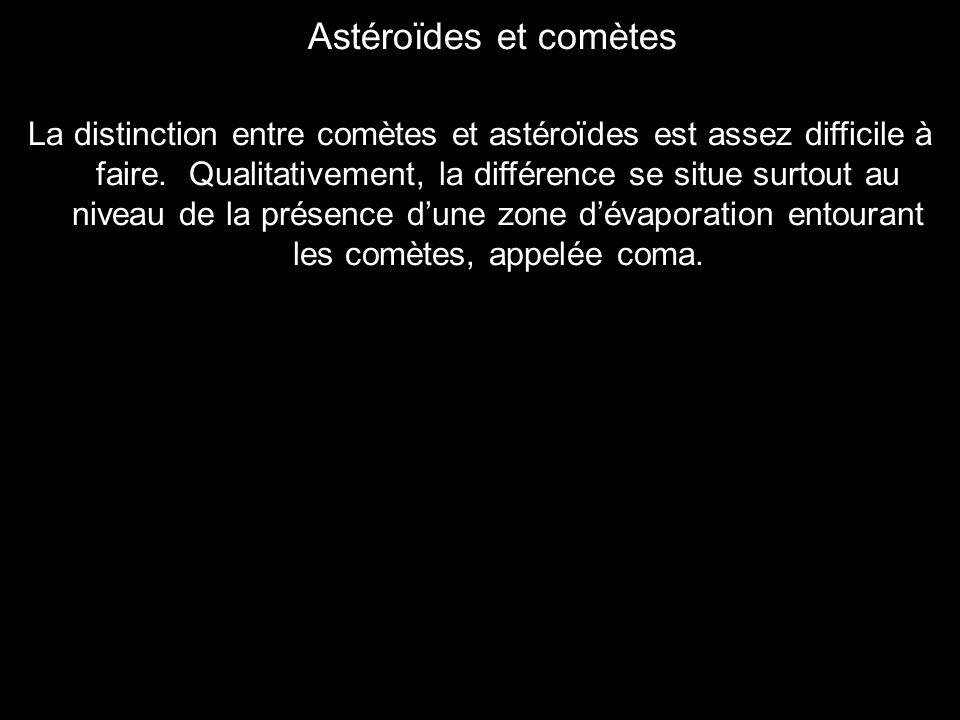 La distinction entre comètes et astéroïdes est assez difficile à faire. Qualitativement, la différence se situe surtout au niveau de la présence dune