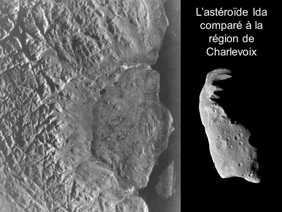 Lastéroïde Ida comparé à la région de Charlevoix