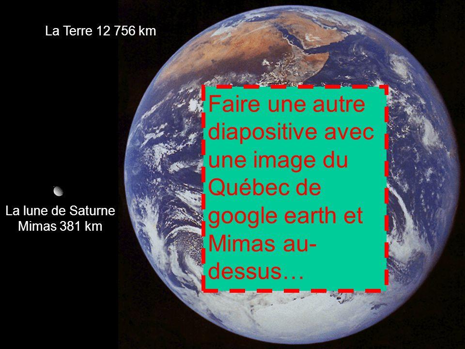 La Terre 12 756 km Faire une autre diapositive avec une image du Québec de google earth et Mimas au- dessus…
