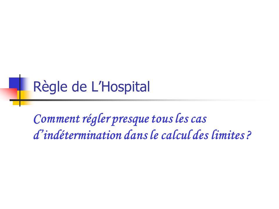 Règle de LHospital Comment régler presque tous les cas dindétermination dans le calcul des limites ?