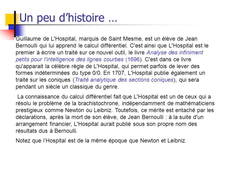 Un peu dhistoire … Guillaume de L'Hospital, marquis de Saint Mesme, est un élève de Jean Bernoulli qui lui apprend le calcul différentiel. C'est ainsi
