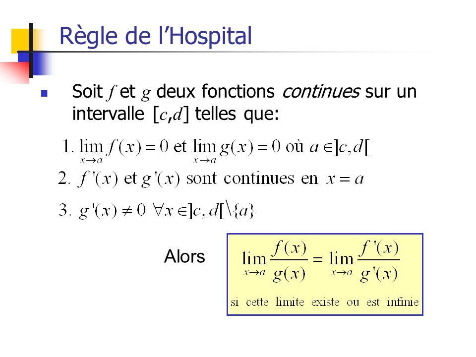 Règle de lHospital Soit f et g deux fonctions continues sur un intervalle [ c, d ] telles que: Alors