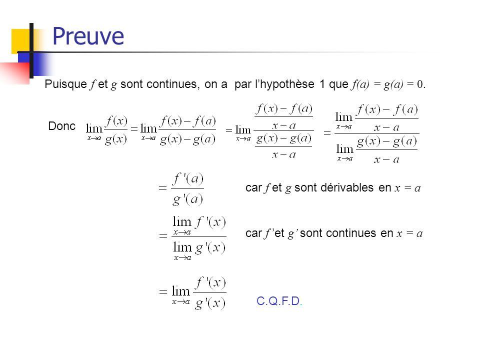 Preuve Puisque f et g sont continues, on a par lhypothèse 1 que f(a) = g(a) = 0. Donc car f et g sont dérivables en x = a car f et g sont continues en