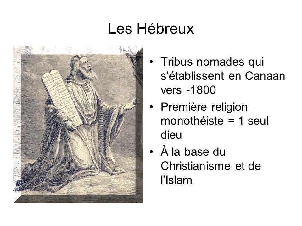 Les Hébreux Tribus nomades qui sétablissent en Canaan vers -1800 Première religion monothéiste = 1 seul dieu À la base du Christianisme et de lIslam