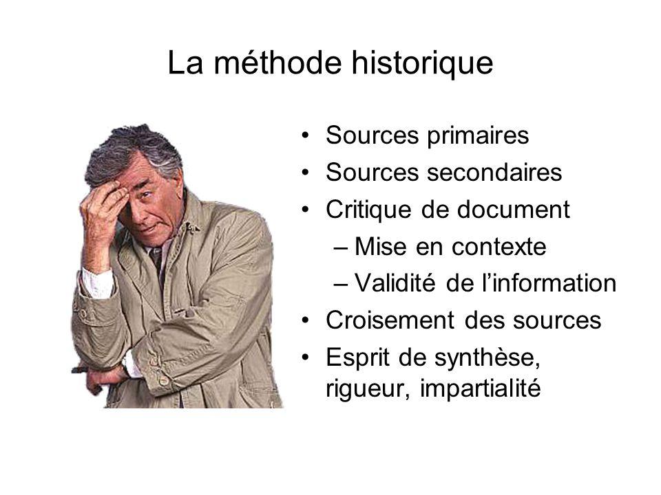 La méthode historique Sources primaires Sources secondaires Critique de document –Mise en contexte –Validité de linformation Croisement des sources Es