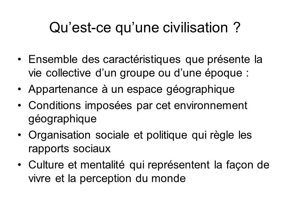 Quest-ce quune civilisation ? Ensemble des caractéristiques que présente la vie collective dun groupe ou dune époque : Appartenance à un espace géogra