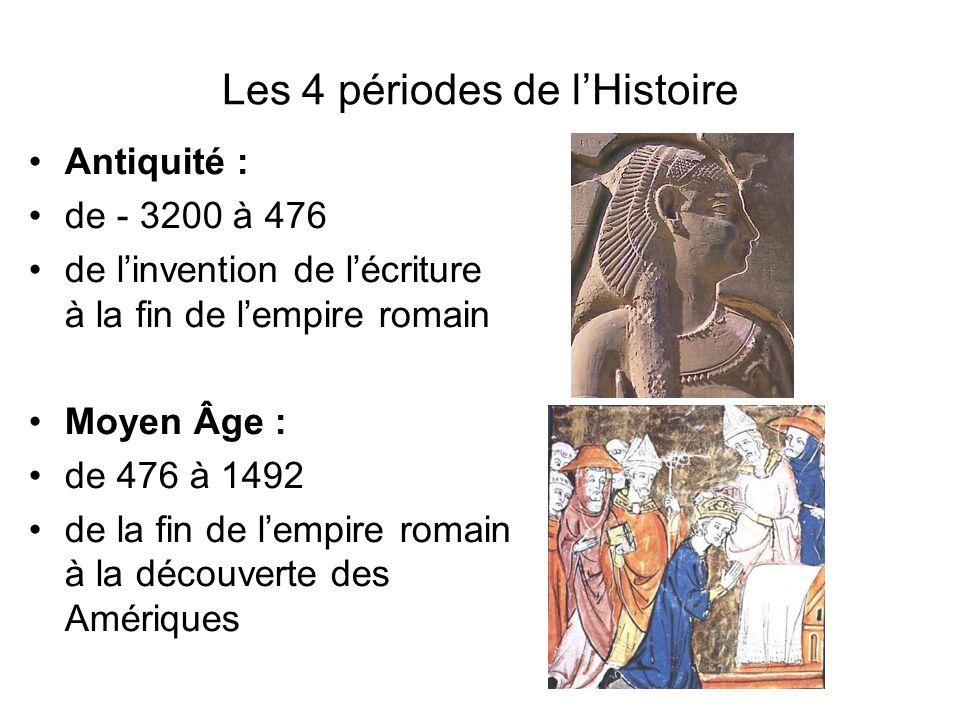 Les 4 périodes de lHistoire Antiquité : de - 3200 à 476 de linvention de lécriture à la fin de lempire romain Moyen Âge : de 476 à 1492 de la fin de l