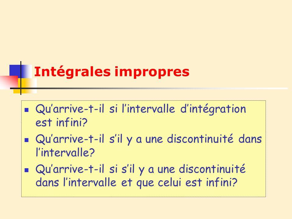 2 Deux types dintégrales impropres : Celles où au moins une des bornes dintégration est infinie Celles qui possèdent une discontinuité à lintérieur de lintervalle dintégration Dans les deux cas, on remplace la «valeur fautive» par un paramètre t.