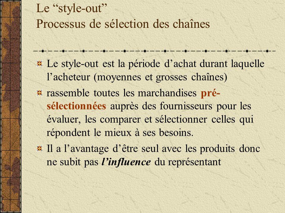 Le style-out Processus de sélection des chaînes Le style-out est la période dachat durant laquelle lacheteur (moyennes et grosses chaînes) rassemble t