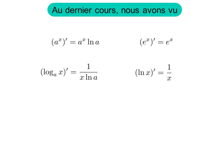 Aujourdhui, nous allons voir Révision du calcul de dérivée Dérivée logarithmique