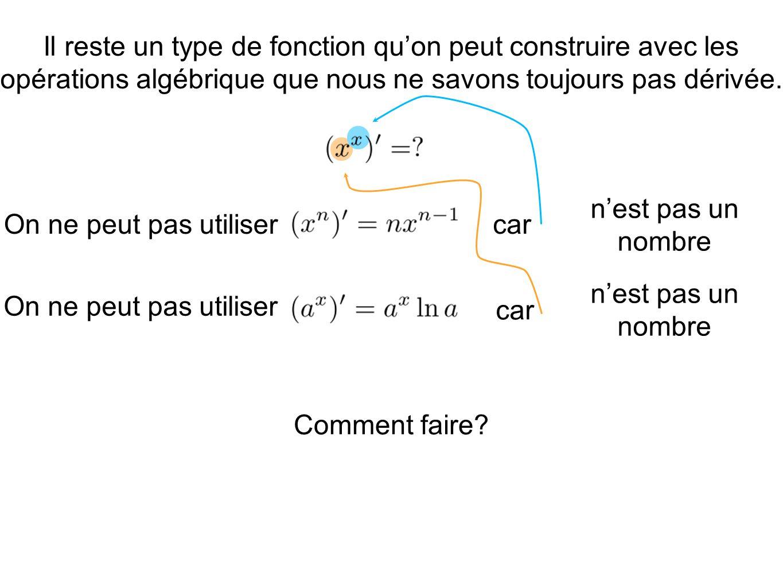 car Il reste un type de fonction quon peut construire avec les opérations algébrique que nous ne savons toujours pas dérivée. On ne peut pas utiliser