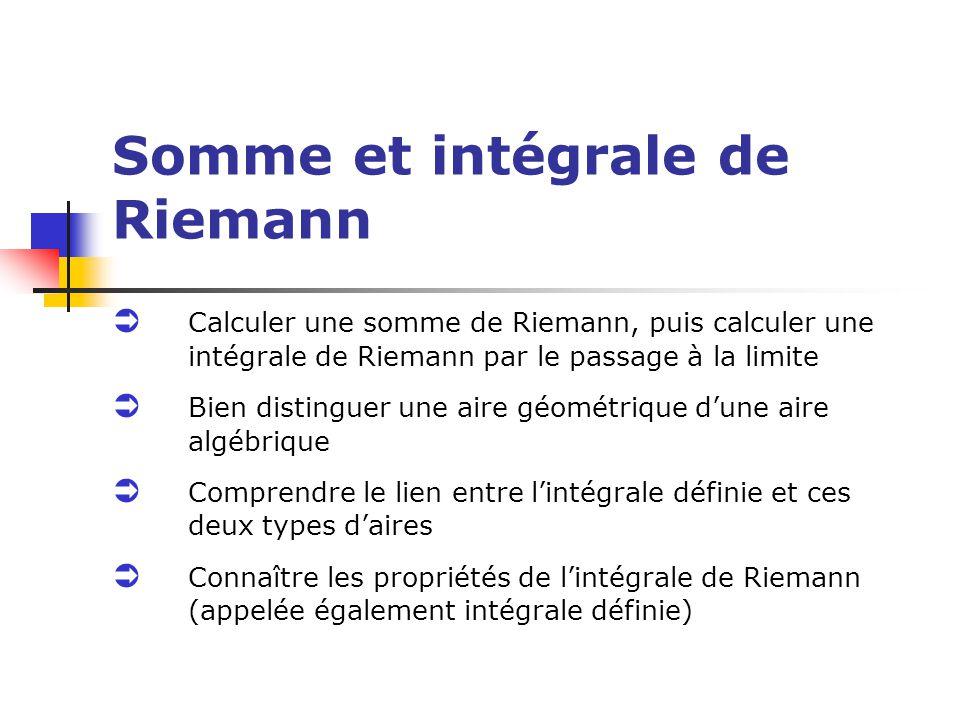Somme et intégrale de Riemann Calculer une somme de Riemann, puis calculer une intégrale de Riemann par le passage à la limite Bien distinguer une air