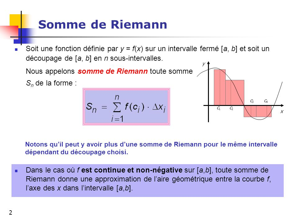 2 Somme de Riemann Soit une fonction définie par y = f(x) sur un intervalle fermé [a, b] et soit un découpage de [a, b] en n sous-intervalles. Nous ap