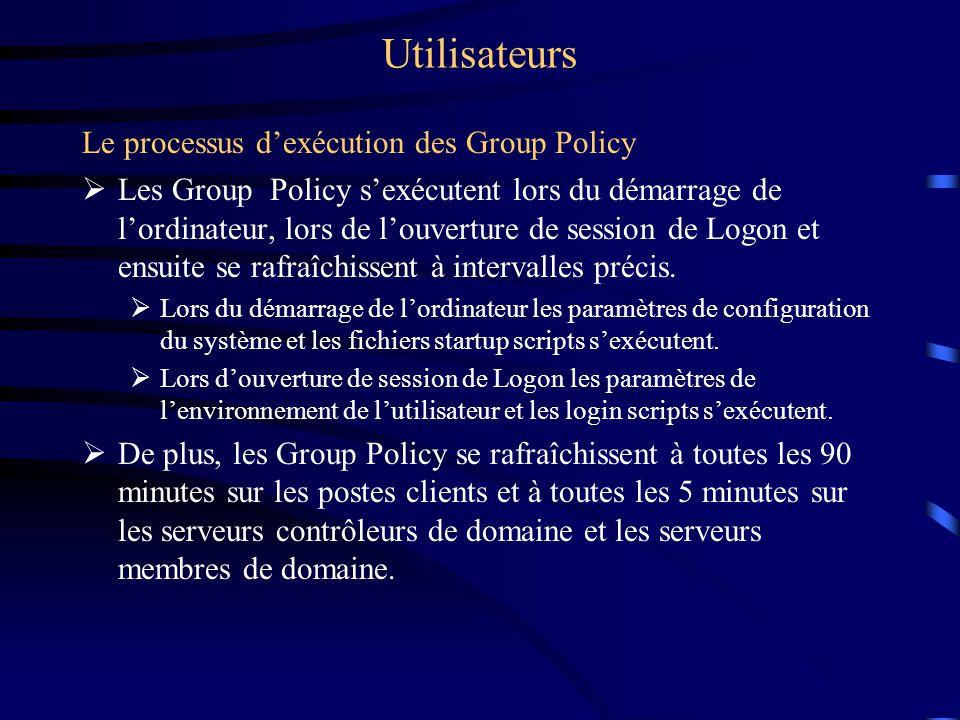 Utilisateurs Le processus dexécution des Group Policy Les Group Policy sexécutent lors du démarrage de lordinateur, lors de louverture de session de L